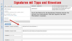 Signaturen schnell mit aktuellen Infos versehen.